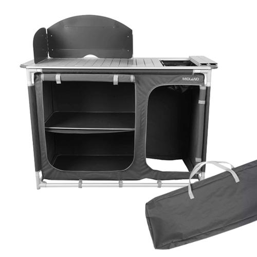 meuble de plein air - meuble de cuisine plein avec évier et 2 étagères