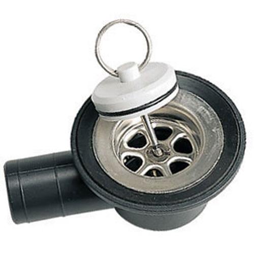 Bonde d\'évier INOX  coudée perçage 35 mm, tuyau 25 mm