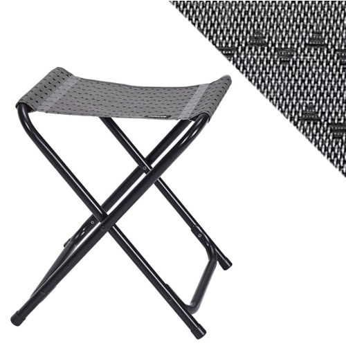 tabouret pliant trigano cocoon gris alu noir camping car. Black Bedroom Furniture Sets. Home Design Ideas