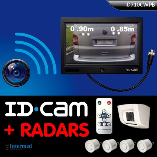 cam ra radar de recul idcam 710cwpb 4 capteurs camping car fourgon. Black Bedroom Furniture Sets. Home Design Ideas