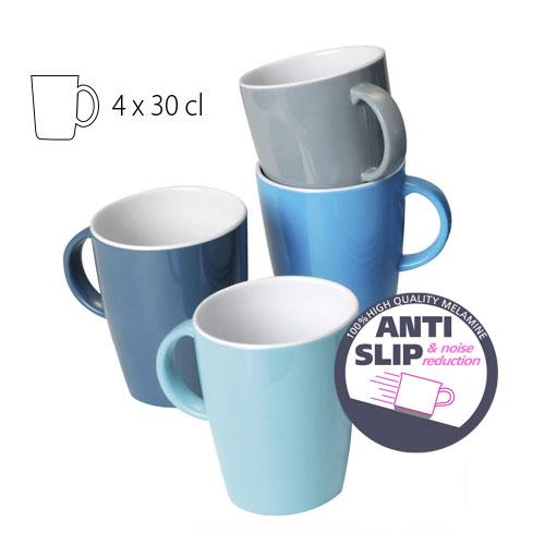 Lot de 4 Mugs Mélamine Bleu au Gris