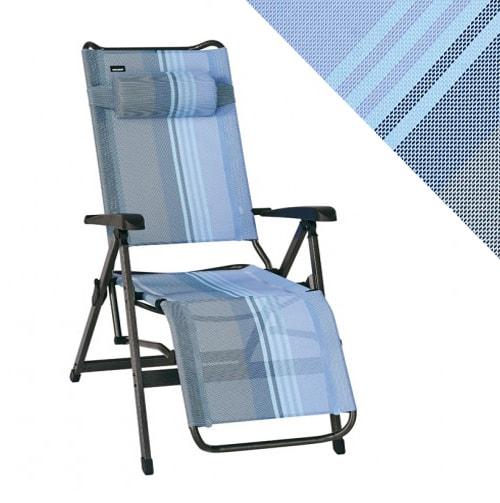 Fauteuil relax trigano bleu lavande en aluminium for Relax plage pliante