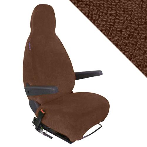 Housses sieges de cabine ponges coton extensible marron for Housse siege camping car