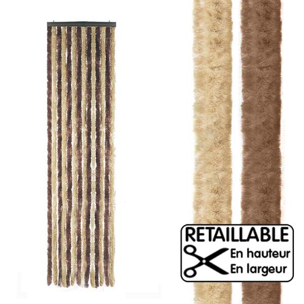Rideau de porte marron/beige 56x205 cm