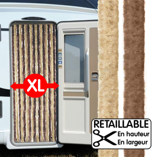 RIDEAU DE PORTE LARGE XL MARRON/BEIGE 205 x 70 cm Camping-car Caravane