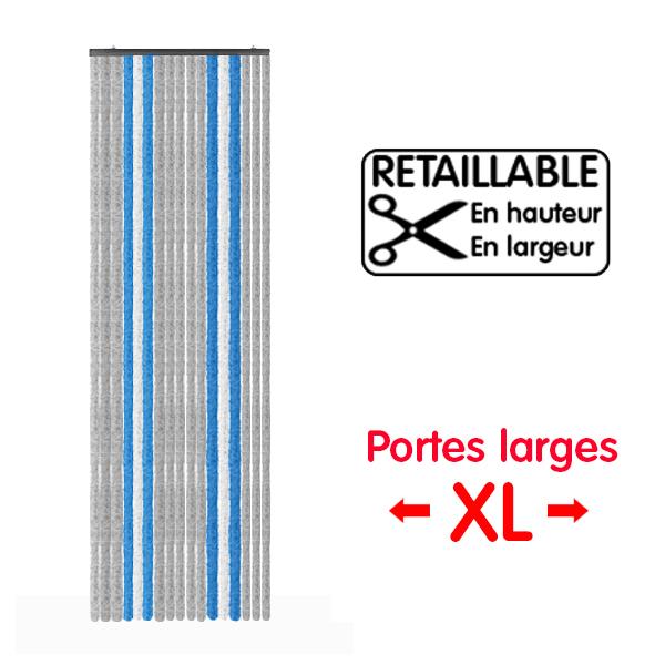 Rideau de porte large xl gris bleu 205 x 70 cm camping car for Porte 70 cm de large