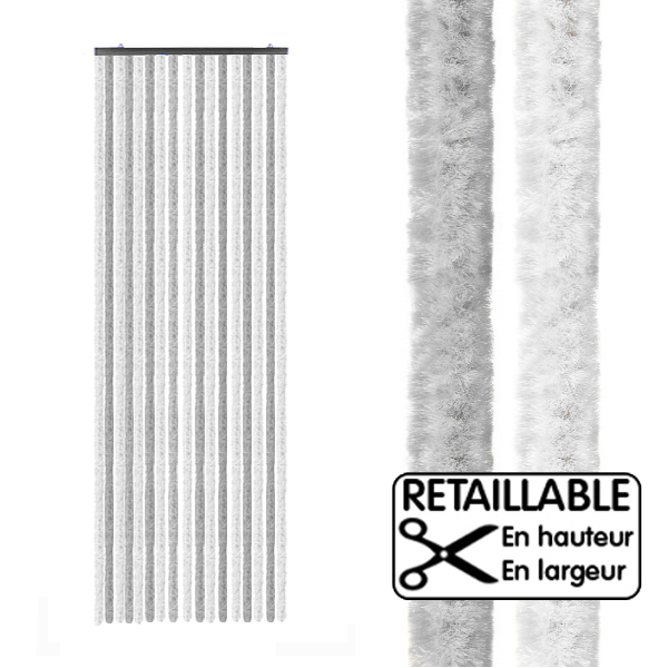 Rideau de porte large xl gris blanc 205 x 70 cm camping for Porte 70 cm de large