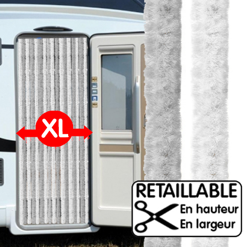 rideau de porte large xl gris blanc 205 x 70 cm camping car caravane. Black Bedroom Furniture Sets. Home Design Ideas