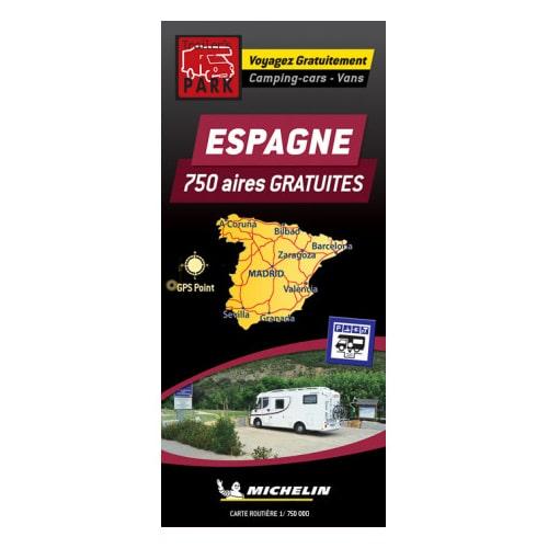 carte aires camping car espagne Carte MICHELIN des Aires et Parkings gratuits d'Espagne   Camping car