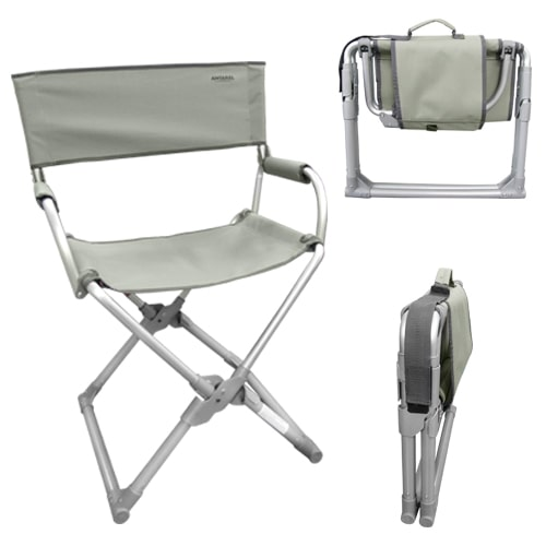 fauteuil directeur pliant ultra compact antarel kaki gris. Black Bedroom Furniture Sets. Home Design Ideas