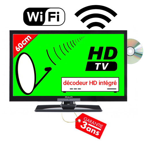 tv smart hd led 60cm 23 6 mobile tv avec r cepteur satellite wifi. Black Bedroom Furniture Sets. Home Design Ideas