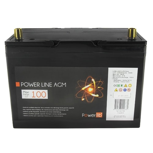 batterie auxiliaire power line agm 100 amp res powerlib 39. Black Bedroom Furniture Sets. Home Design Ideas