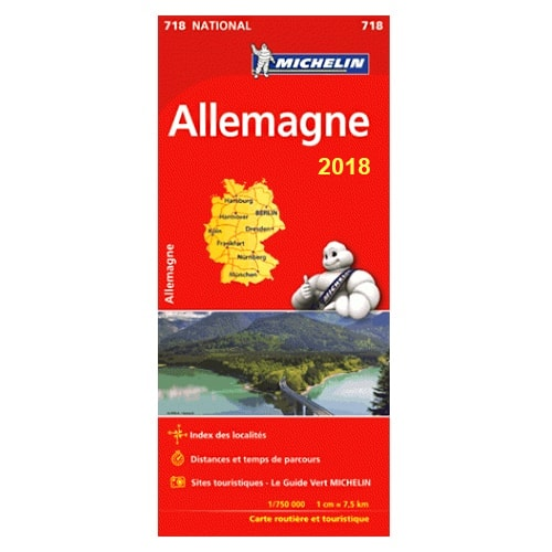 carte routi re michelin allemagne 2018 avec sites touristiques. Black Bedroom Furniture Sets. Home Design Ideas