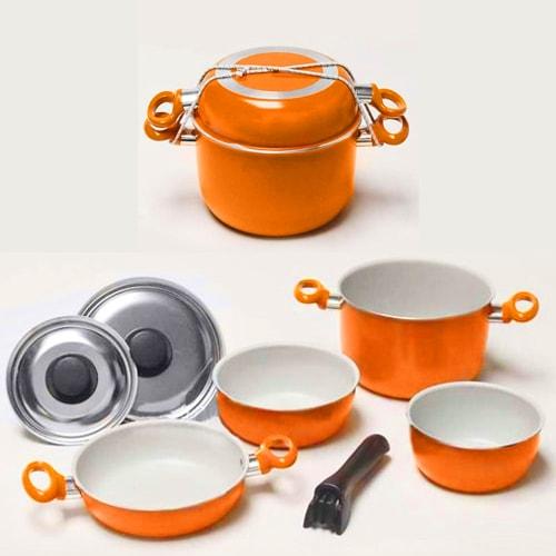 Popote orange 7 pièces  Aluminium