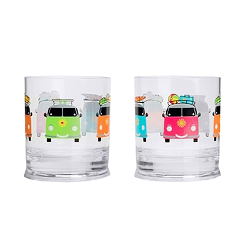Lot de 2 verres bas 31 cl Camper Smiles