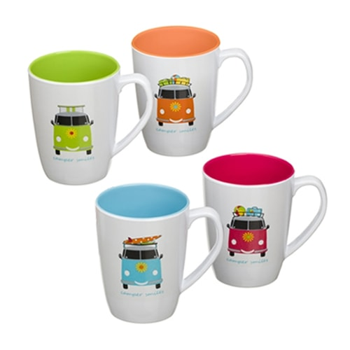 Lot de 4 Mugs mélamine 35cl Camper Smiles