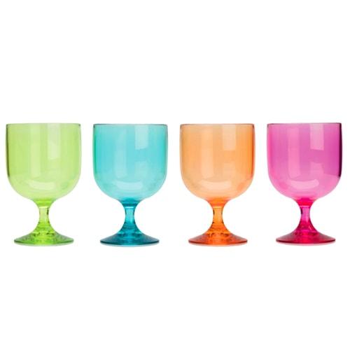 lot de 4 verres 20cl multicolores san r sistants aux chocs. Black Bedroom Furniture Sets. Home Design Ideas