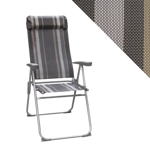 fauteuil de camping avec repose t te inclinable 5 positions ray gris. Black Bedroom Furniture Sets. Home Design Ideas
