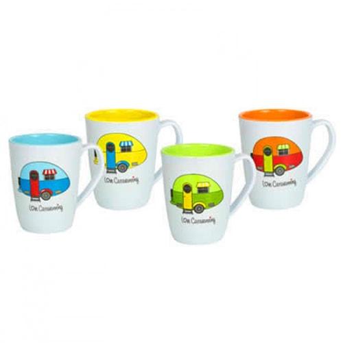 Lot de 4 Mugs Mélamine Love Caravaning