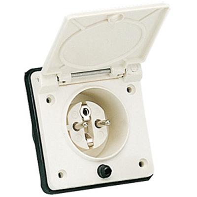 Prises ext rieures 220v socle secteur schuko 230 v 10 a male avec porte f - Socle prise de courant ...