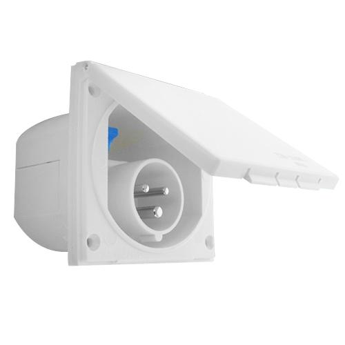 Prises ext rieures 220v socle a encastrer p 17 blanc 16 for Prise ip44 exterieur