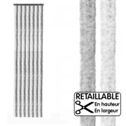 Rideau de porte 205 x 56 cm, Gris/Blanc