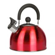 Bouilloire inox à sifflet 2,5 L Rouge
