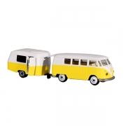 Jouet VW T1 avec caravane jaune 13 cm