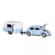 Jouet VW Beetle avec caravane bleu 13 cm