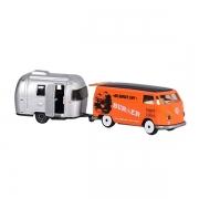 Jouet VW T1 avec caravane orange 13 cm