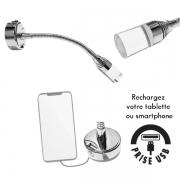 Spot LED 12V 1W 50mm flexible avec prise USB